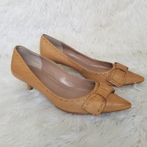 Tahari Majorie Leather Pointed Toe Kitten Heels